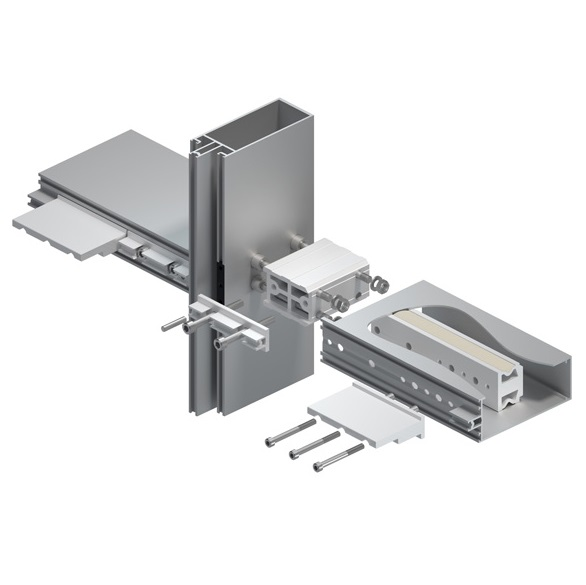 Mullion-to-transom connection for MB-SR50N façade with load capacity of 5.5 kN per node side