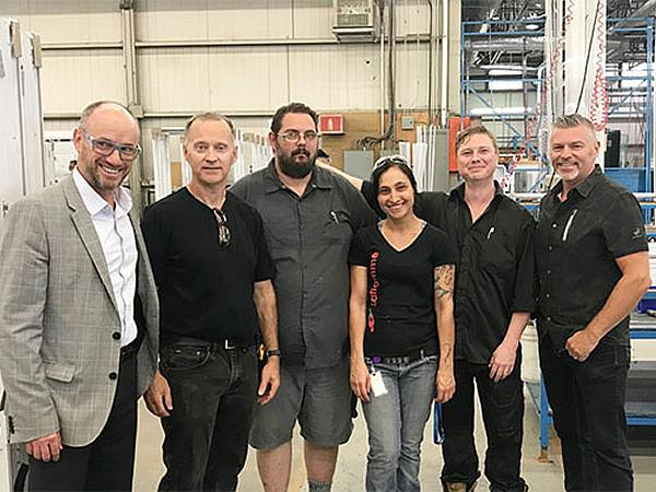 Benoit Alain, President and CEO of Atis Group, Raymond Comeau, President of the Laflamme workers union accompanied by union executives Yves Gosselin, Emmanuelle Gagné and Sacha Fournier, and by Éric Gilbert, Director Commercial Sales, Atis Group.