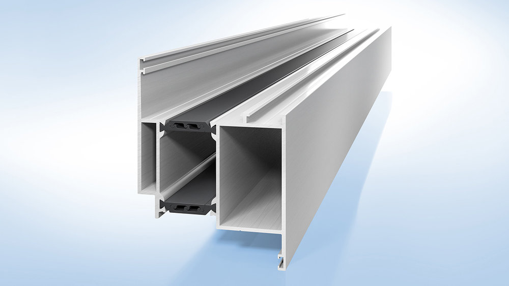 The shear-free insulating profile from Ensinger connects the aluminium shells of doors and evens out the temperature-induced, differing linear expansion of the metal profiles.