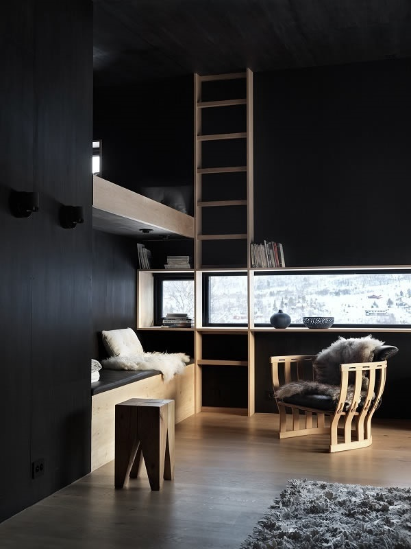 Contrasts in light, materials and colours: slim horizontally and vertically arranged windows cut out the black painted timber shell of the interior.