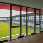 Classroom and meeting room with views of the football stadium at the FC Bayern Munich campus.